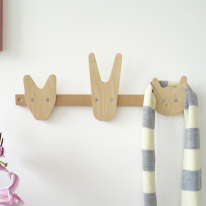 wooden animal coat hanger