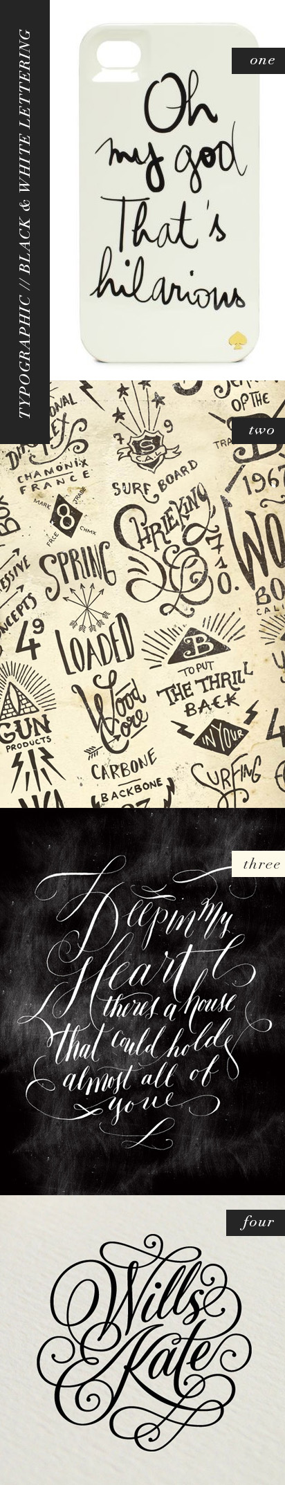 typo graphic, black and white lettering, by kelsey of pinegate road